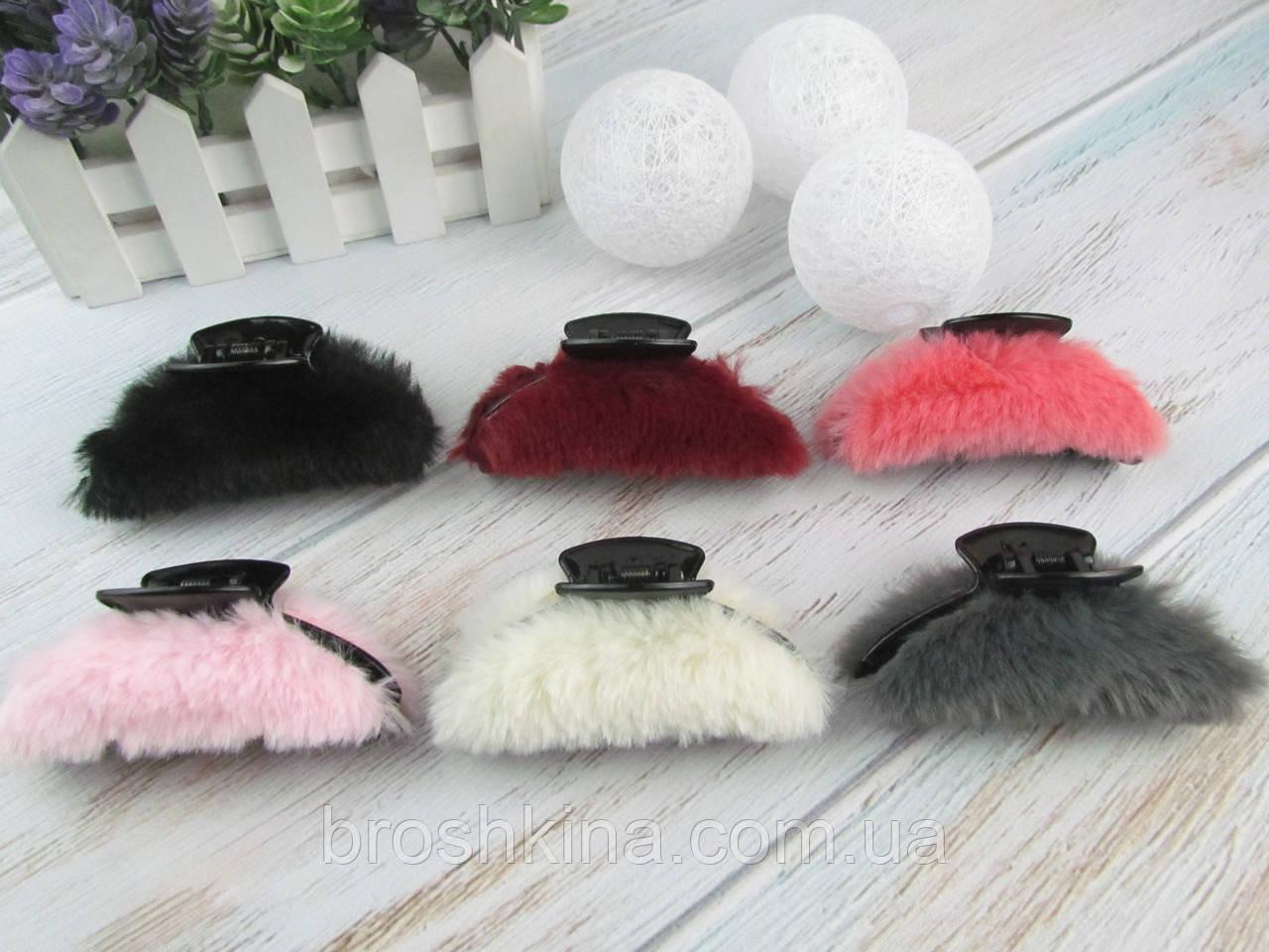 Заколки крабы для волос пластик с мехом 9*4 см цветные 12 шт/уп