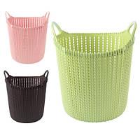 Корзина - плетенка R85458 пластик, 23*21см, овальная, разные цвета, Корзины бельевые, Пластиковые корзины для вещей