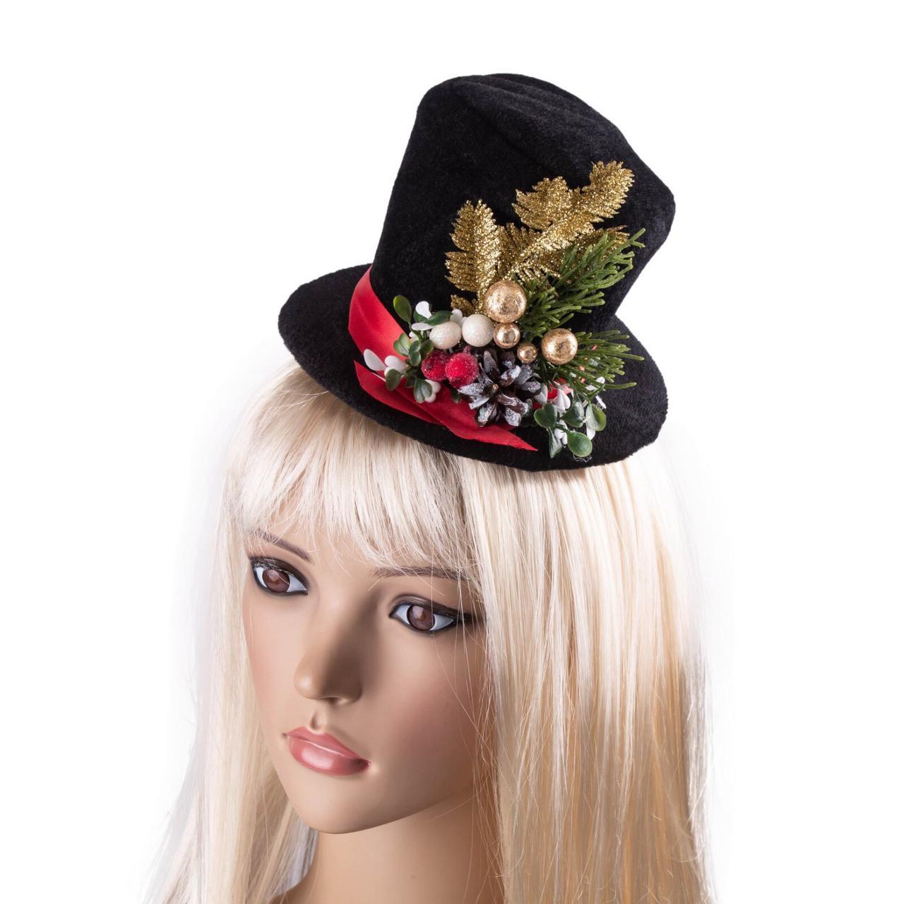 Новогодняя шляпка 2 цвета (высота 10см)