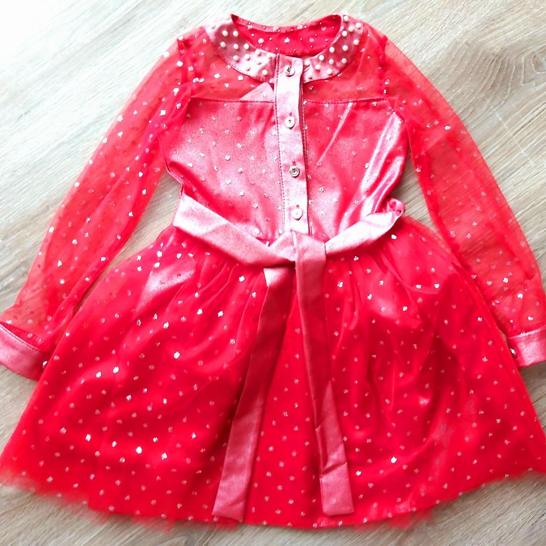 Дитяча елегантне плаття Ніжність червоне 146