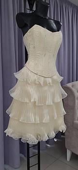 Свадебный костюм для невесты. Вышитый топ, юбка плиссе