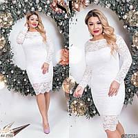 Гипюровое женское платье белого цвета, размеры: 48, 50, 52, 54, 56