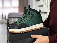 Чоловічі кросівки Nike Lunar Force 1 Duckboot / Найк Лунар Форс Дакбут, високі, зелені з чорним