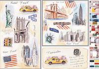 Декупажная карта-бумага 50*70см с металл. эффектом 99244 Нью-Йорк