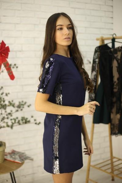 Женское стильное платье свободного кроя,бока вставка паетка хамелеон,темно-синего цвета