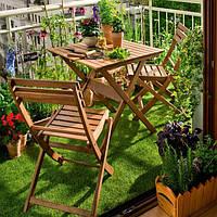 Меблі складні балконні з евкаліпту. Столик + 2 стільці, фото 1