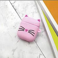 Силіконовий захисний чохол - Airpods Apple. Кіт рожевий