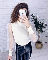 Кофточка женская нарядная белая чёрная, фото 1