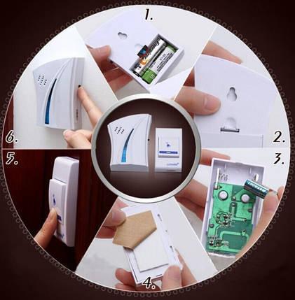 Беспроводной дверной звонок Luckarm Intelligent D8610 с батарейкой Белый/Голубой, фото 2