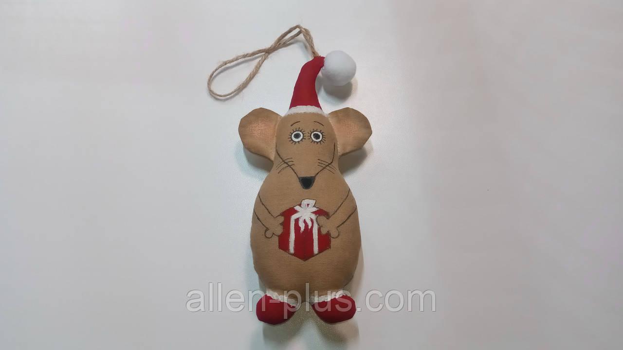 Кофейная игрушка ручной работы Мышь с подарком