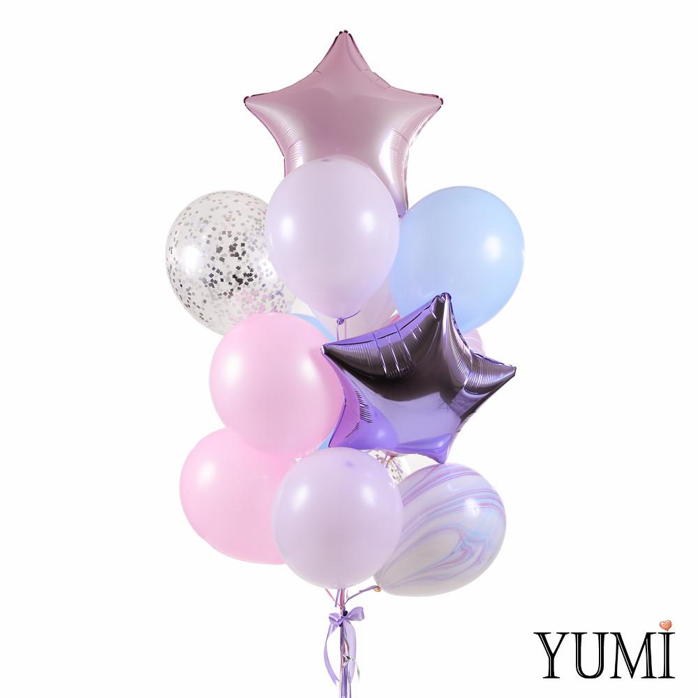 Связка шаров в розовых, сиреневых и голубых оттенках