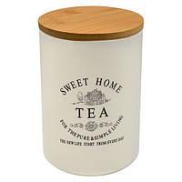 """Банка для чая """"Глазурь"""" с бамбуковой крышкой 700мл 10*10*14.8см"""