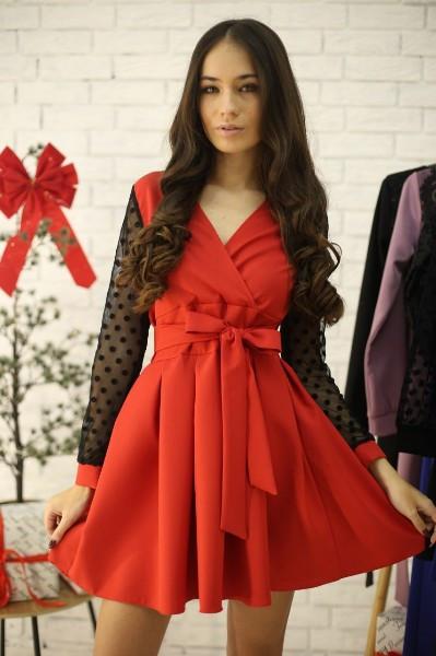 Женское стильное красное платье с рукавами сетка-горох