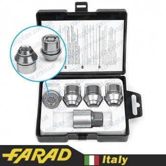 Гайки секретки М12x1.5x29мм Конус Ford Вращающееся кольцо (для оригинальных дисков Ford) Ключ 19