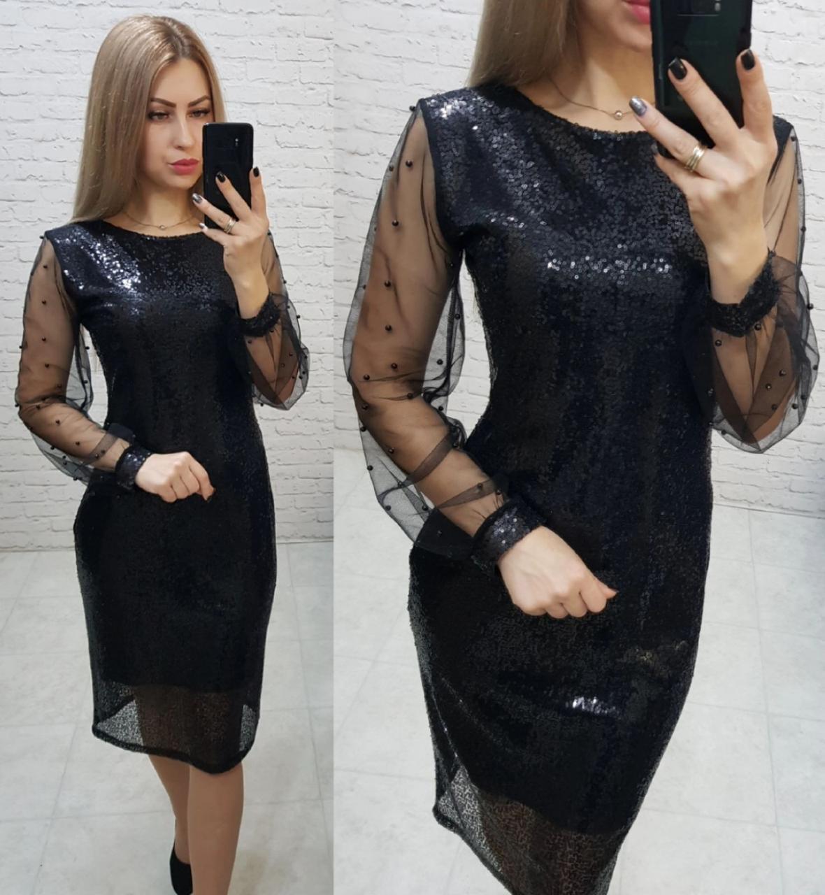 Нарядное женственное платье, арт 182, чёрного цвета, цвет чёрный