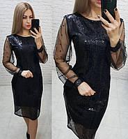 Нарядное женственное платье, арт 182, чёрного цвета, цвет чёрный, фото 1