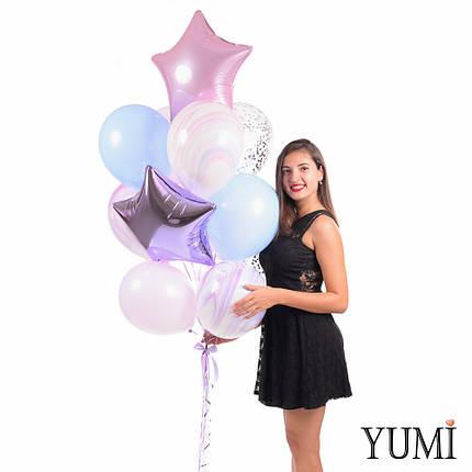 Связка шаров в розовых, сиреневых и голубых оттенках, фото 2