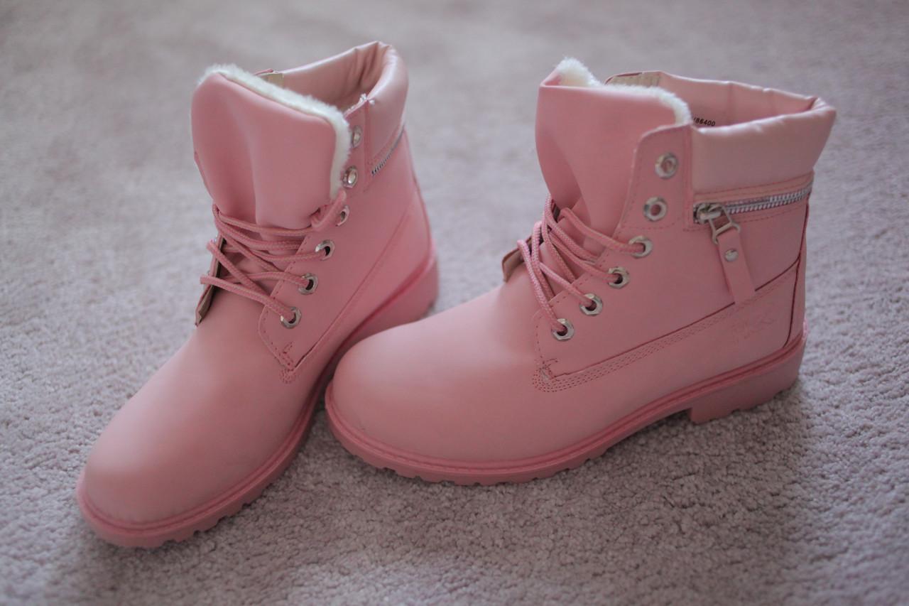 Жіночі черевики Тімберленди рожеві на хутрі 36-40