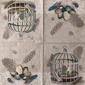 "Салфетки для декупажа 33x33 см 15 ""Перепёлки яйца клетка перья винтаж ретро"" Серветки для декупажу вінтаж"
