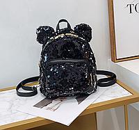 Рюкзак-сумка женский с пайеткой M&JJ Черный 20*24*10 (3081)
