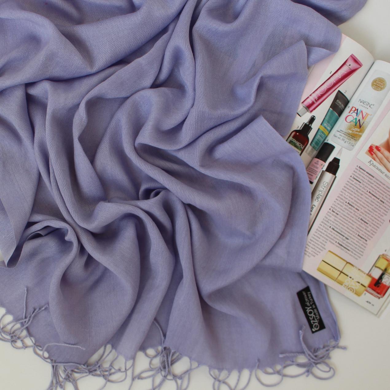 Турецкий сиреневый шарф из тонкой пашмины 116-5
