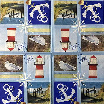 "Салфетки для декупажа 33x33 см 15 ""Море якорь океан корабль маяк чайка якорь"" Серветки для декупажу вінтаж"