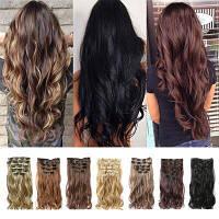 Трессы накладные термо волосы для наращивания на заколках набор из 12 прядей волнистые цвет №4
