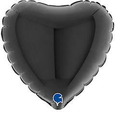 """Фол куля мікро Grabo 4""""/10см Серце пастель чорне (Грабо)"""