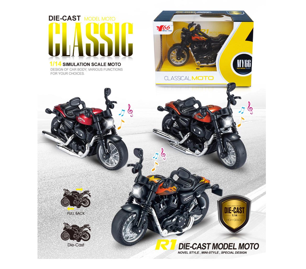 Металлический мотоцикл 1:14  инерционный