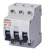 Модульный автоматический выключатель ENERGIO SP-4B 3P C 50А 4.5кА