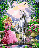 Картина раскраска по номерам на холсте 40*50см Babylon VP437 Принцесса и ее единорог