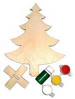 Заготовка для декорирования Атлас Новогоднее украшение Елочка (фанера) + подставка, 13,5х17см Н-0007