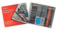 Нобор для графики Derwent Sketching Collection 24 шт (8 брусков + 14 карандашей + точилка и ластик) D-34306