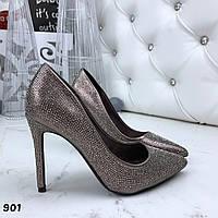 Женские туфли лодочки никель  на каблуках Diamonds