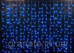 Гирлянда уличная штора синяя на чёрном проводе с мерцанием (3м*3м, Каучук) 480L