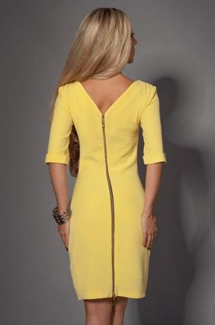Приталенное женское платье с замком на спине электрик, фото 2
