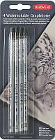 Набор графитных водорастворимых карандашей Derwent Graphitone Watersoluble 4шт. в блистере 34304