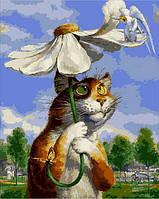 Картина раскраска по номерам на холсте 40*50см Mariposa Q2076 Кот с ромашкой
