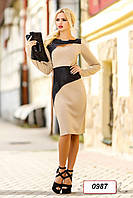 Платье 12-0987 - т.бежевый/черный: L XL XXL 3XL 4XL, фото 1