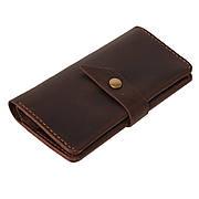 Шкіряне портмоне «Promin Brown» чоловіче коричневе (17x9,75 см) ручної роботи