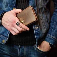 Шкіряне портмоне «Promin Blue» чоловіче синє (17x9,75 см) ручної роботи, фото 2