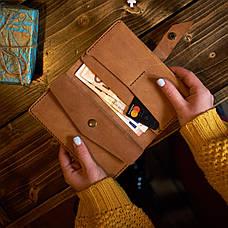 Шкіряне портмоне «Promin Blue» чоловіче синє (17x9,75 см) ручної роботи, фото 3