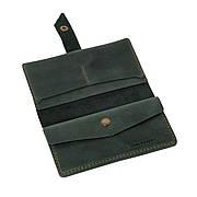 Шкіряне портмоне «Promin Green» унісекс зелене (17x9,75 см) ручної роботи