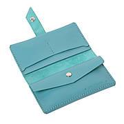 Шкіряний гаманець «Promin Azure» жіночий Блакитний (17x9,75 см) ручної роботи