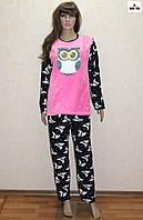 Пижама женская зимняя теплая розовая 42-52 р.