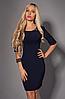 Приталенное женское платье с замком на спине темно-синее