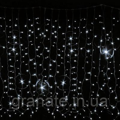Гирлянда уличная штора холодно - белая на чёрном проводе с мерцанием (3м*2м, Каучук) 240L