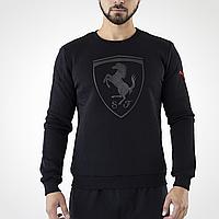Толстовка мужская черная Puma Ferrari, свитшот с начесом черный Пума Феррари