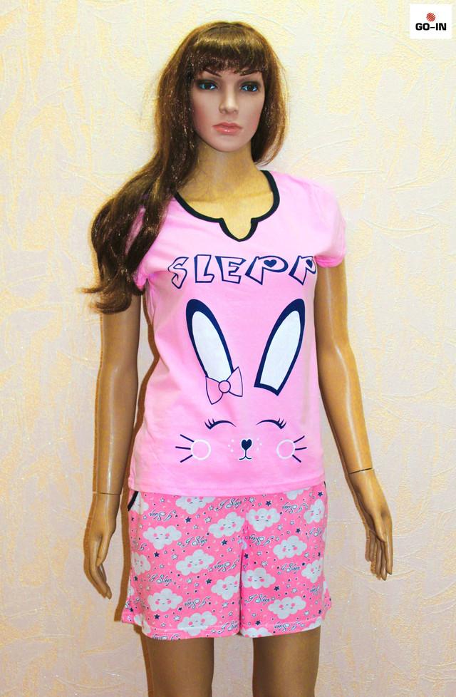 Летняя пижама женская розовая футболка с шортами хлопковая