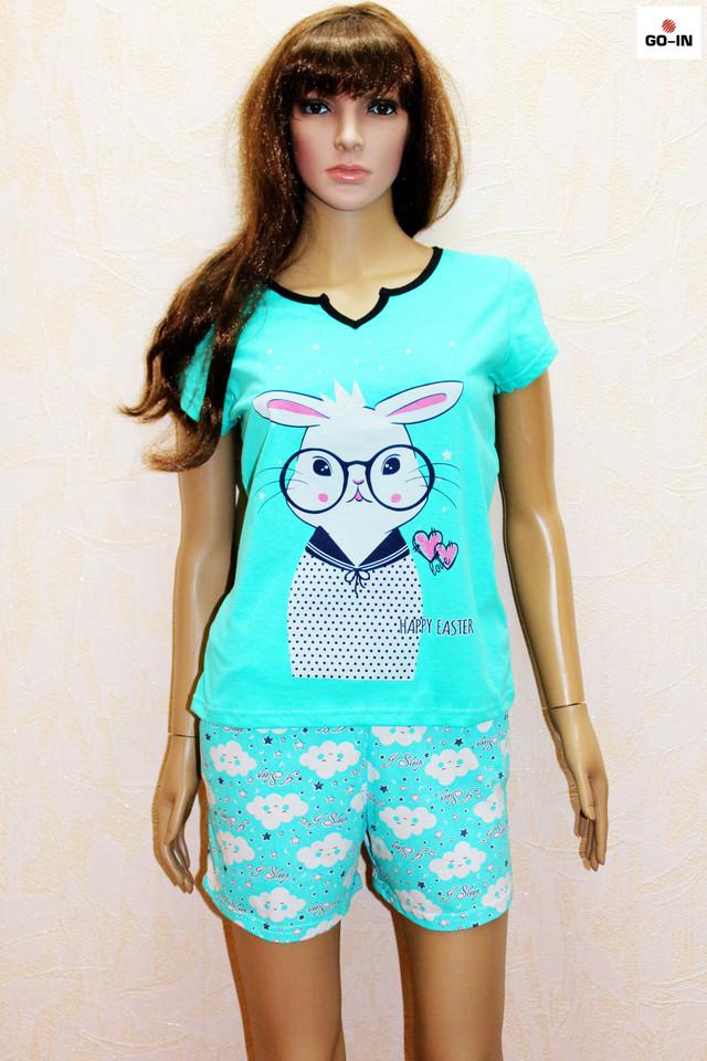 Летняя пижама женская футболка с шортами хлопковая